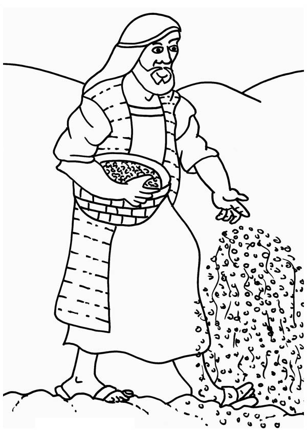 Farmer Scattering Seed In Parable Of The Sower Coloring