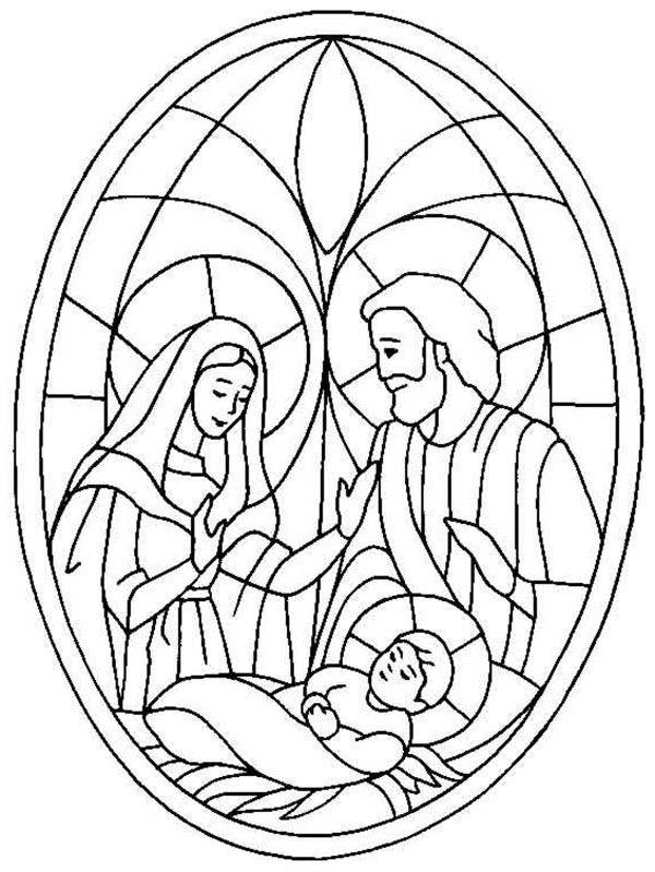 Glass Art Of Jesus Nativity Coloring Page : Color Luna