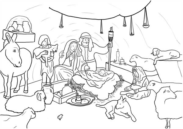 Jesus Born In Bethlehem In Nativity Coloring Page : Color Luna