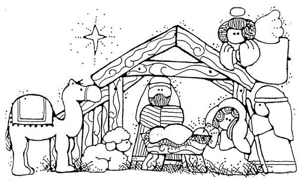 Jesus Nativity In Cartoon Depiction Coloring Page : Color Luna