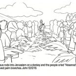 People Worship Jesus In Jerusalem In Palm Sunday Coloring