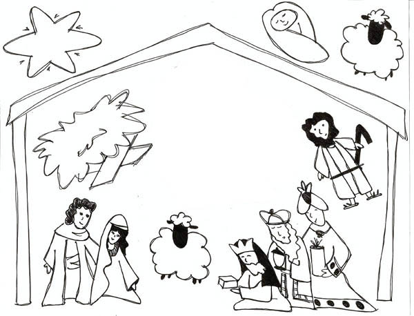 Kids Drawing Of Jesus In Nativity Coloring Page : Color Luna
