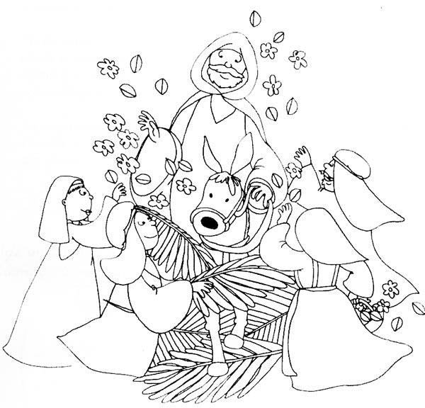 Kids Drawing Of Palm Sunday Coloring Page : Color Luna