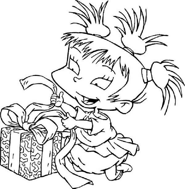 Kimi Finster Open Her Present In Rugrats Coloring Page