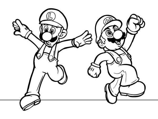 Mario And Luigi Dancing In Mario Brothers Coloring Page