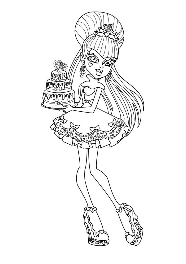 Monster High Character Bring Birthday Cake Coloring Page