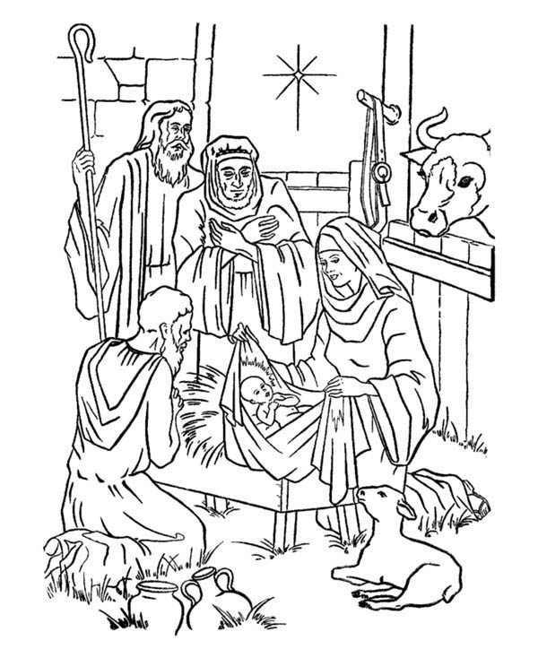 Nativity Of Jesus And Star Of Bethlehem Coloring Page
