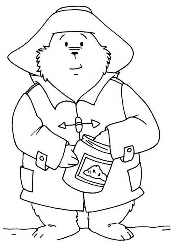 Paddington Bear Eat Honey From Honey Jar Coloring Page