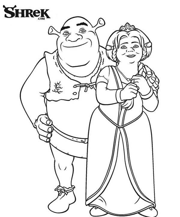 Perfect Couple Shrek And Princess Fiona Coloring Page