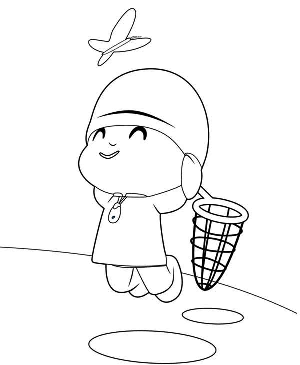 Pocoyo Jump To Catch Butterfly Coloring Page : Color Luna