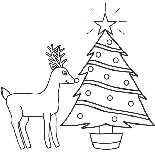 Rudolph The Red Nosed Reindeer And Christmas Tree Coloring