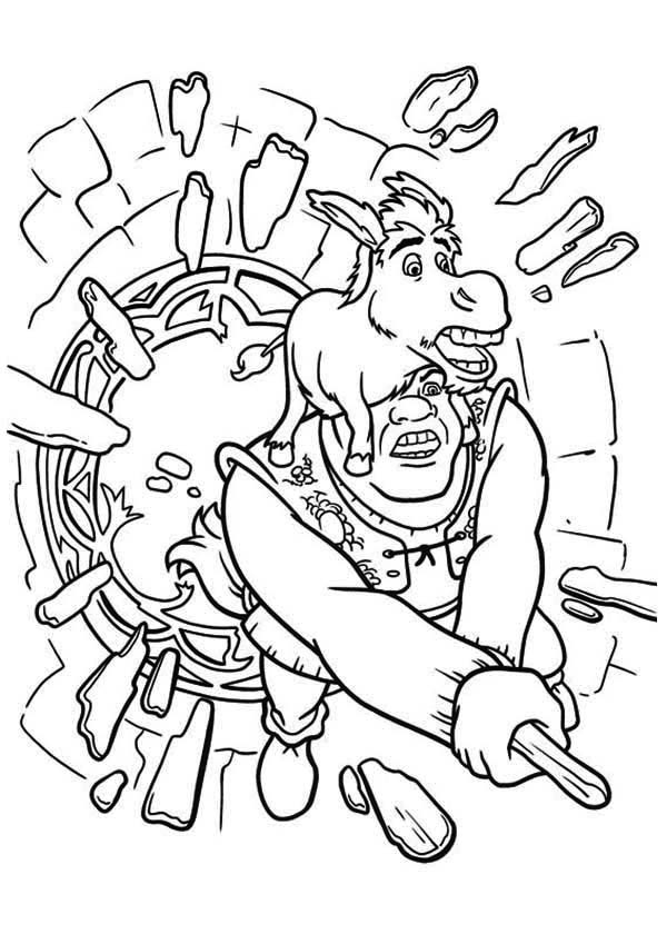 Shrek And Donkey Break Through Glass Window Coloring Page