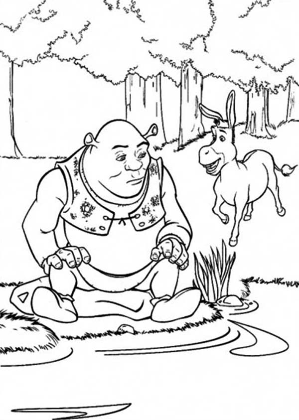 Shrek And Donkey At Side Of Lake Coloring Page : Color Luna