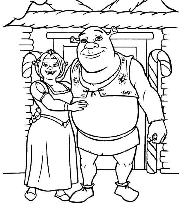 Shrek And Princess Fiona In Front Of Their House Coloring
