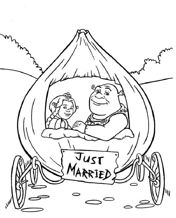Shrek And Princess Fiona In Onion Carriage They Were Just