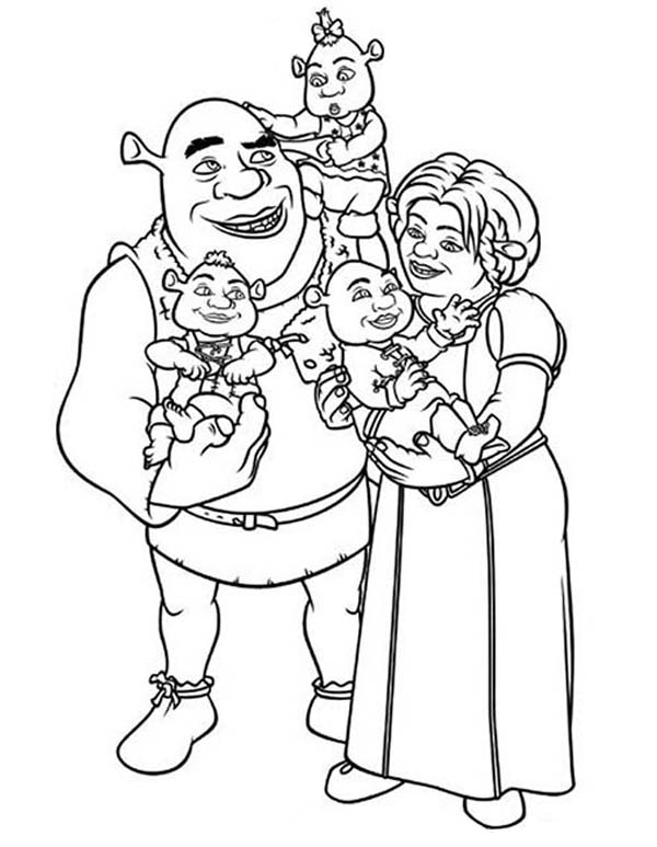 Shrek And Princess Fione With Their Babies Coloring Page