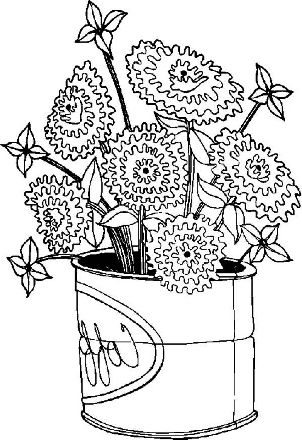 Spring Flower Bloom In Big Can Coloring Page : Color Luna