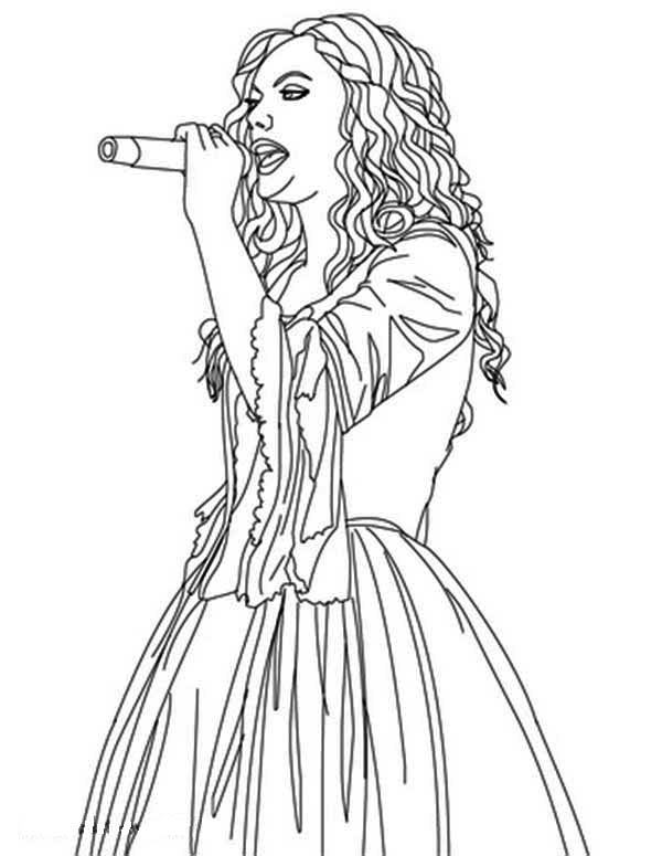 Taylor Swift Is Sing For You Coloring Page : Color Luna