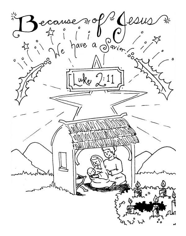 The Born Of Saviour In Nativity Coloring Page : Color Luna