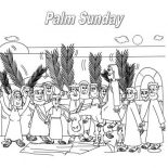 A Boy Waving A Palm Leaf In Palm Sunday Coloring Page