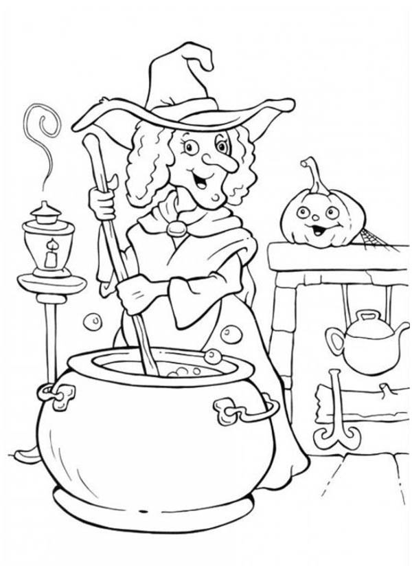 A Witch Making Potion On Halloween Day Coloring Page