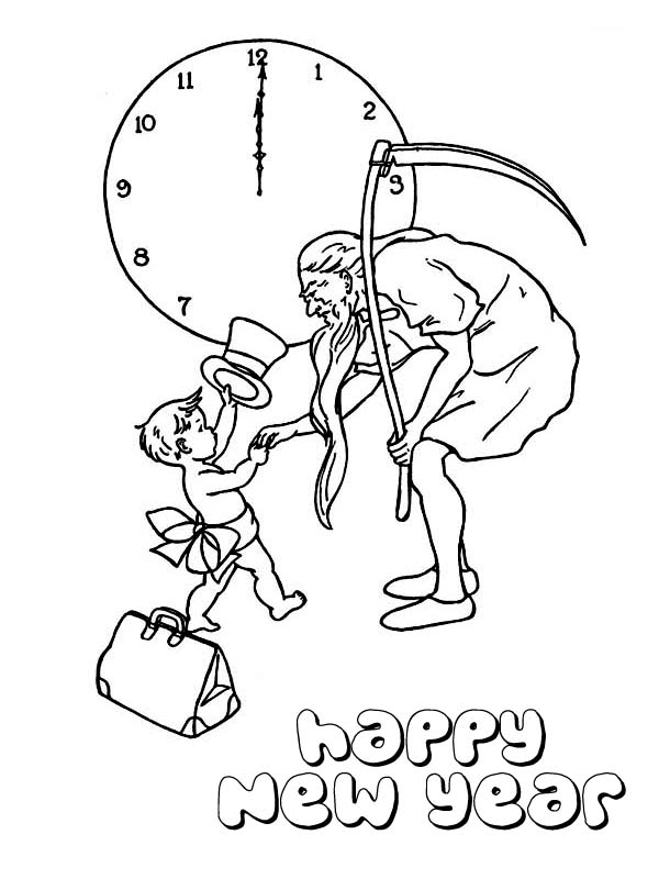 Cute Baby New Year Doing Handshake With Father Time On