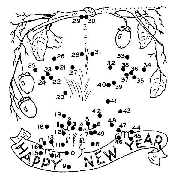 Finish The Dot On 2015 New Year Coloring Page : Color Luna