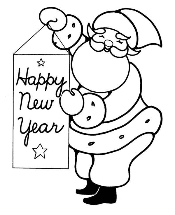 Joyful And Happy Santa Greetings On 2015 New Year Coloring