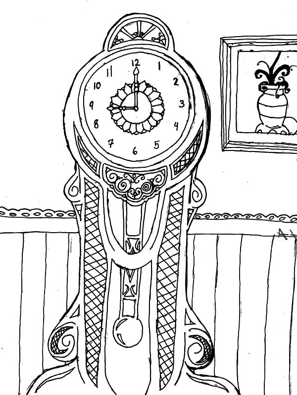 Grandfather Clock In Living Room Coloring Pages : Color Luna