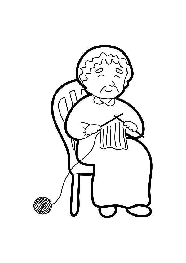 Grandmother is Telling Story While Knitting Coloring Pages