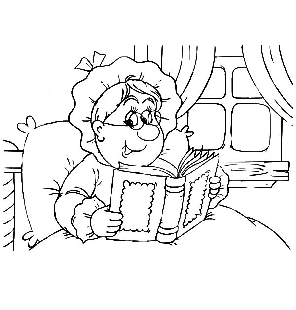 Grandmother Read A Book On Her Bed Coloring Pages : Color Luna