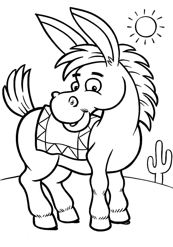 Mexican Donkey On A Sunny Day Coloring Pages : Color Luna