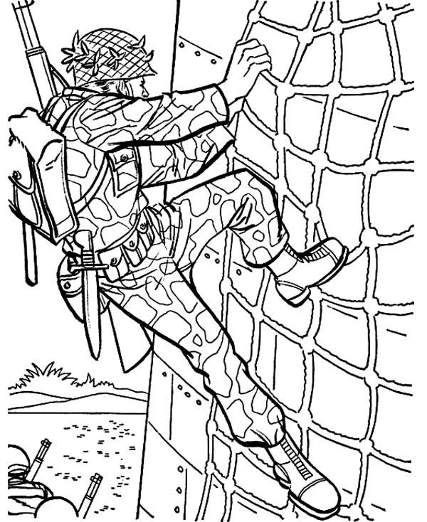 Military Drill Wall Climbing Coloring Pages : Color Luna