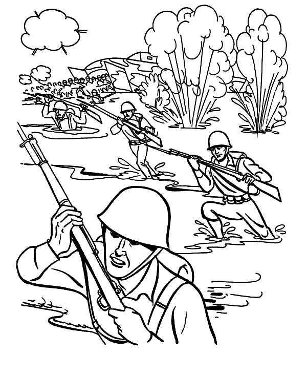 Military Drill In Mud Pool Coloring Pages : Color Luna