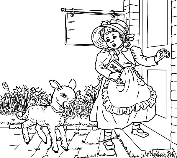 Nursery Rhyme Mary Had A Little Lamb Coloring Pages