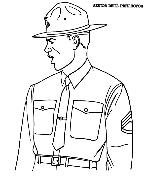 Senior Drill Intructor In Military Coloring Pages : Color Luna
