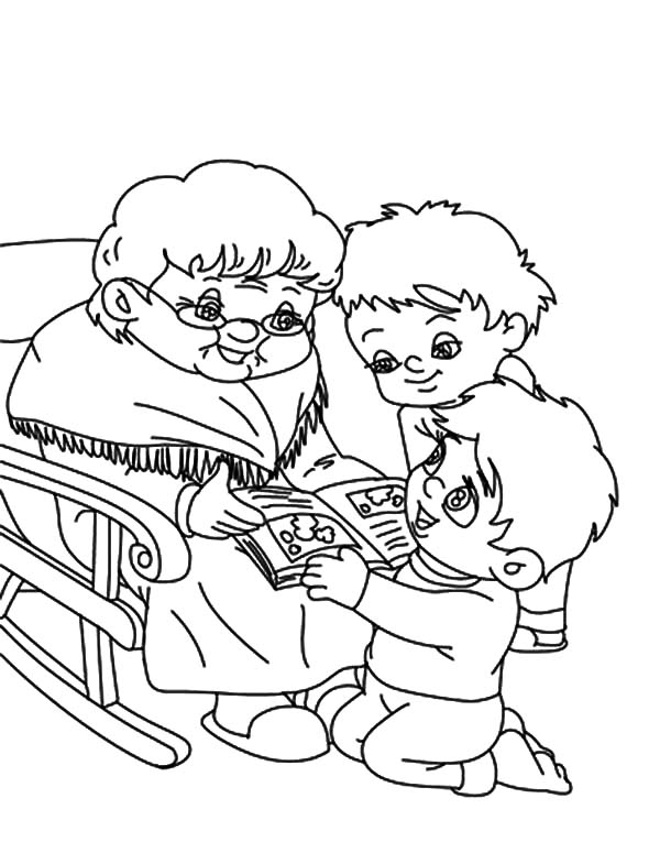Two Boy Ask Grandmother To Tell Them Story Coloring Pages