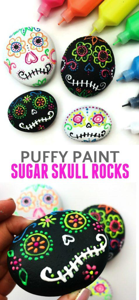 Sugar Skull Rock Painting : sugar, skull, painting, Sugar, Skull, Rocks, Using, Puffy, Paint, Color, Happy