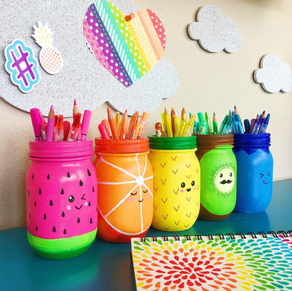 rainbow fruit mason jar