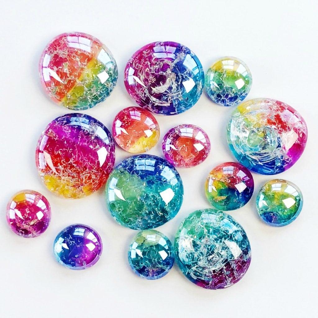 diy glass cracked gems