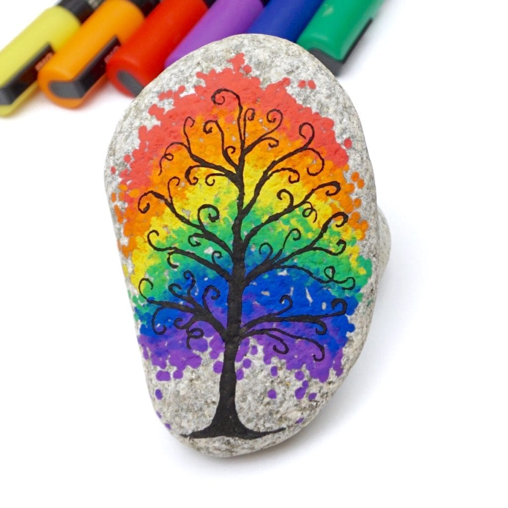 rainbow tree painted rock