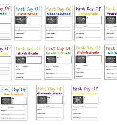 Free First Day Of School Printables K through 12 * Color Me Crafty [ 2550 x 3300 Pixel ]