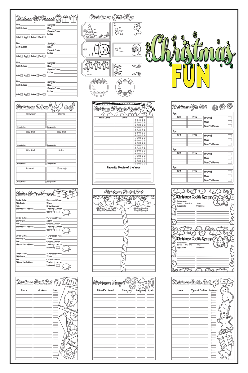 Christmas Fun Coloring Planner Pages