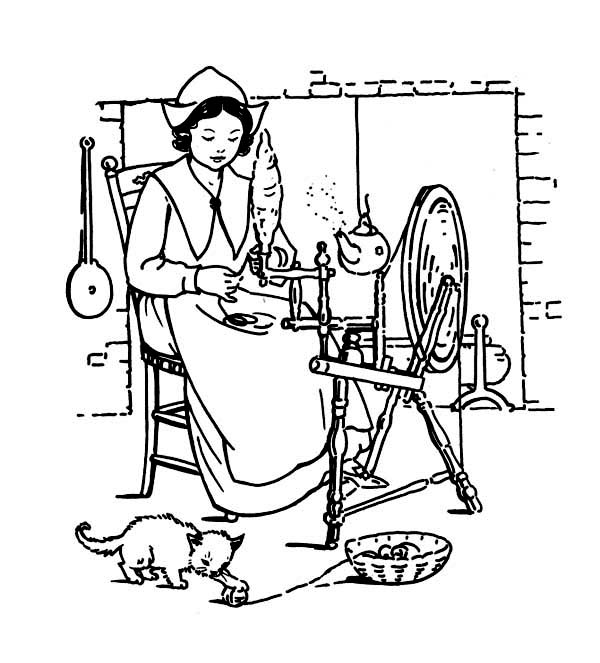 A Pligrim Women Making Thanksgiving Day Crafts Coloring
