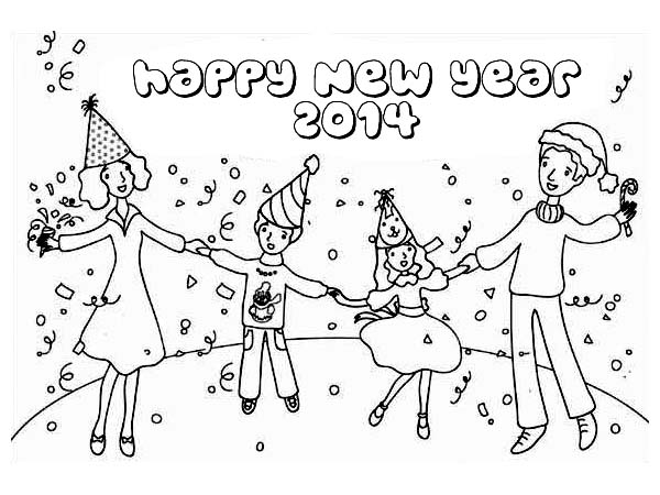 Celebrating New Year with the Whole Family Coloring Page