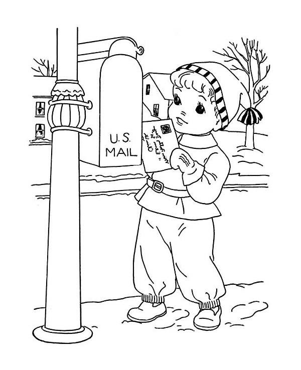 Little Kid Mailing Santa On Winter Christmas Present