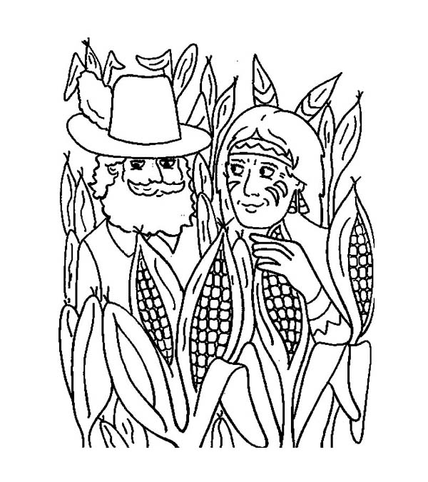 Pilgrim And Native American In Corn Field Thanksgiving Day