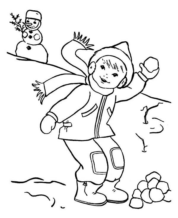 Throwing Snowball on Snowball Fight During Winter Coloring