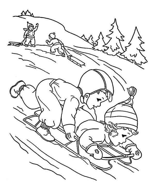 Two Kids Playing Winter Sled Together Coloring Page