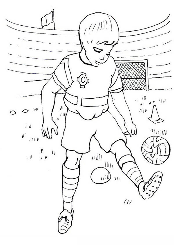 A Boy Practising His Soccer Move In The Stadium Coloring